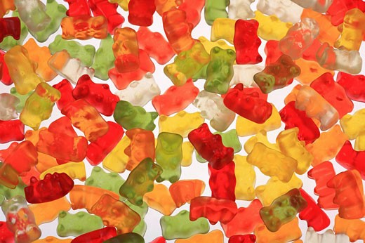 Candy, gummi bear, jelly baby, sweets, candy, bright, colorful, colourful, studio, food, sweet, confectionery : Stock Photo