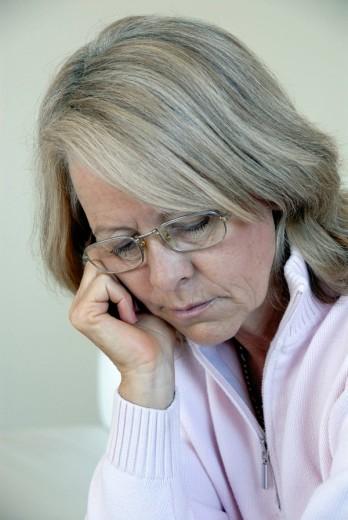 Woman, Senior, Seniors, Mature, Matures, Portrait, Bad mood, Moody, Depressive, headache, pain, serious, glasses, medi : Stock Photo