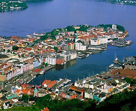 Stock Photo: 1597-6392  view, Floyen mountain, Bergen, Norway, Europe, overview, roofs