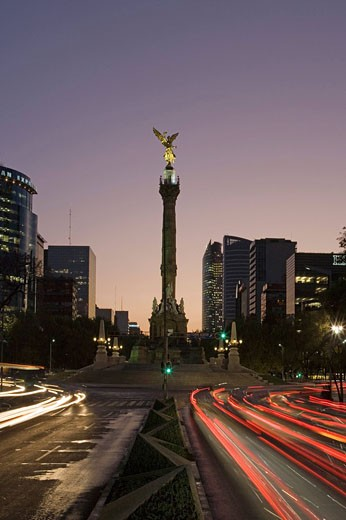 Mexico, Central America, city, Paseo de la Reforma, South America, February 2008, Angel de la Independencia, avenue, b : Stock Photo
