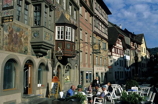 Switzerland, Europe, canton Schaffhausen, Stein am Rhein, Old Town, houses, homes, bay windows, painted facades, touri : Stock Photo
