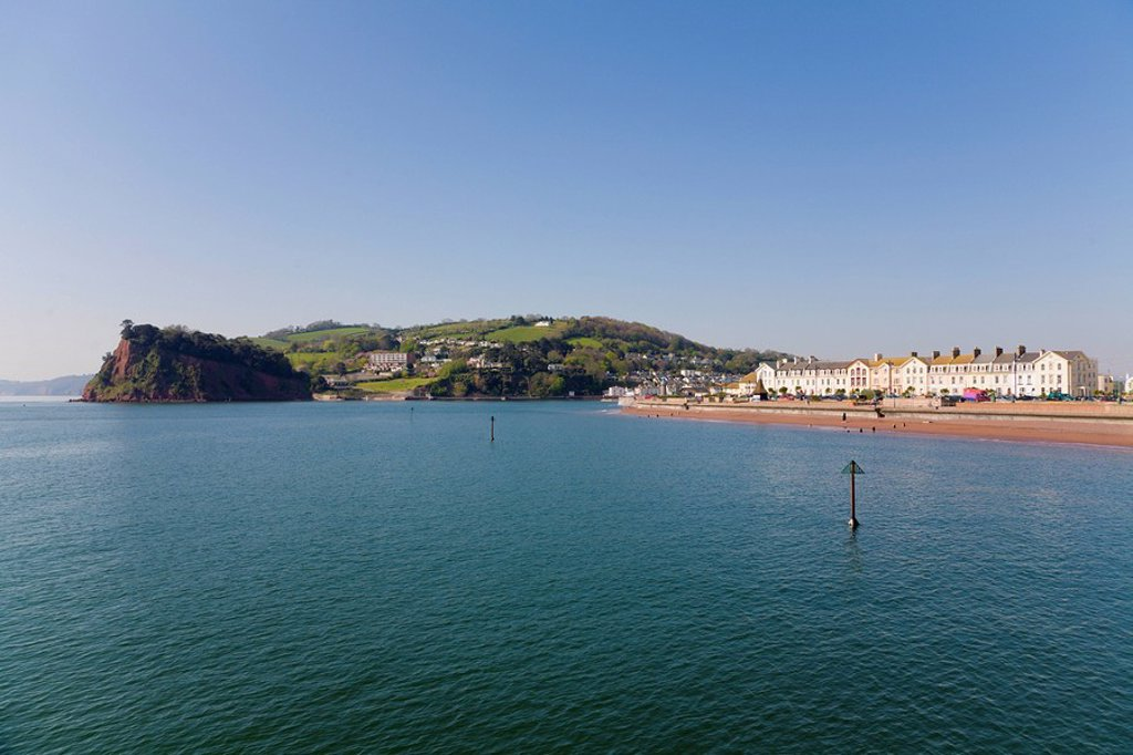 Stock Photo: 1597-65024 town, beach, seafront, sea, front, Teignmouth, Devon, England, Europe, UK, United, Kingdom, Great Britain, Europe, EU,