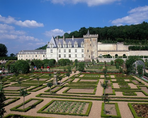 France, Europe, Chateau Villandry, Loire Valley, Indre, French, Renaissance, historical, architecture, building, forma : Stock Photo