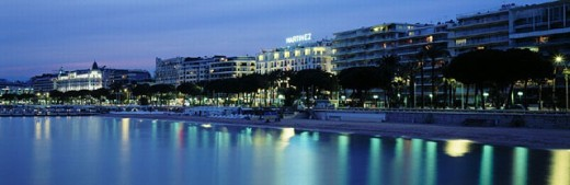 Stock Photo: 1597-6530  Cannes, Cote d´Azur, France, Europe, hotels, La Croisette, sea, at night, panorama,