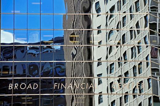 USA, America, United States, North America, New York city, reflecting facade, Broad Financial center, Financial Distri : Stock Photo