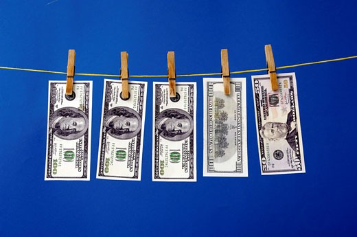 Stock Photo: 1597-65494 Money, bank notes, bills, currency, cleanly, well, monetary washing, clothes line, dry, wash, dollar, USA, America, Un