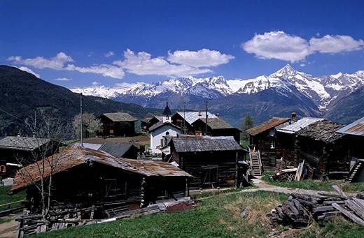 Switzerland, Europe, Riedij hamlet, at Staldenried, Bietschhorn, Wilerhorn, Torrenthorn, Trubstock, Canton Valais, cha : Stock Photo