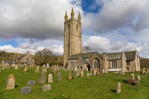 England, Europe, Widdecombe, Devon, village, Widdecombe in the Moor, church, graveyard, gravestones, Dartmoor, nationa : Stock Photo
