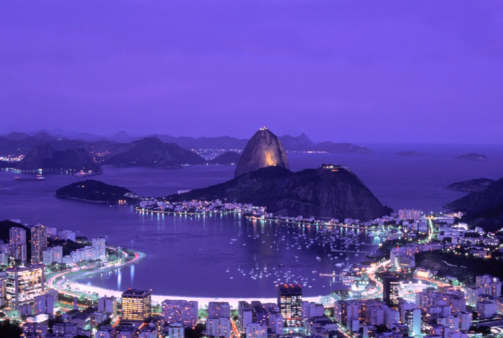 Stock Photo: 1597-6760  Brazil, South America, bay, Guanabara Bay, coast, scenery, lights, sea, night, at night, Rio de Janeiro, town, city,