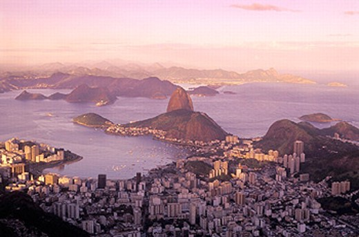 Bay, Brazil, South America, bay, dusk, twilight, Guanabara, coast, scenery, sea, Rio de Janeiro, town, city, mood, o : Stock Photo