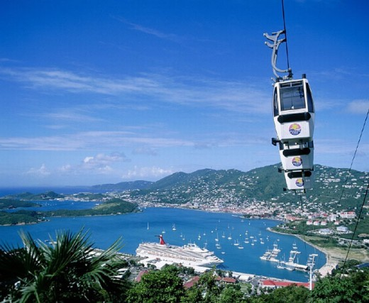 Stock Photo: 1597-6887  Charlotte Amalie, gondola, bubble lift, cableway, cruise ship, Long Bay, Saint Thomas, overview, Virgin of Island, C