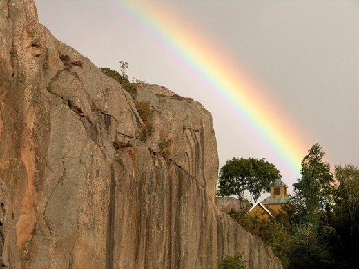 Sweden, chapel, rainbow, cliff, rock, na : Stock Photo