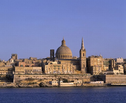 Old Town, architecture, buildings, historical, cathedral, church, dome, coast, Malta, sea, San Pawl, St Paul, town, : Stock Photo
