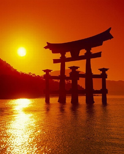 Asia, surf, waves, bodies of water, historical, Itsukushima, Japan, Asia, culture, culture, sea, Miyajima, O Torii, : Stock Photo