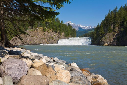 Stock Photo: 1597-72075  Banff, Bow River, river, waterfall, Bow