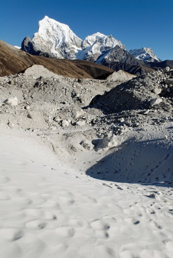 Sand dune, Ngozumpa glacier, Arakamtse, : Stock Photo