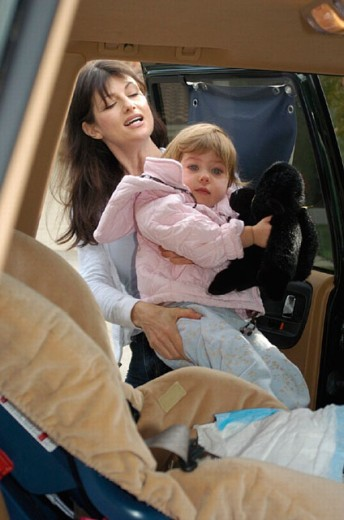car, automobile, family, woman, inside, child, child seat, toddler, infant, mother, passenger car, car, automobile, : Stock Photo
