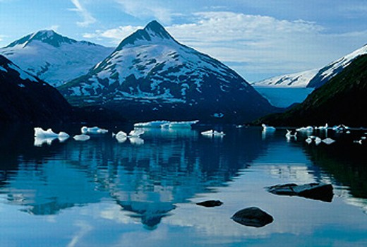 Alaska, mountain, mountains, blue, sky, blue tones, ice, floe, floes, mountains, glaciers, Horizontal, idyls, idyl, : Stock Photo