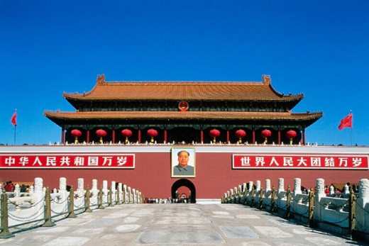 10643976, bridge, China, Asia, entrance, Mao portrait, effigy, Peking, Beijing, place, celestial peace, Tienanmen, gate, forbi : Stock Photo