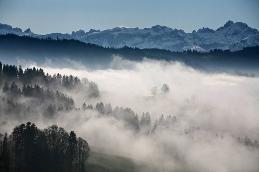 Stock Photo: 1597-77445 Switzerland, scenery, canton Appenzell Ausserrhoden, Appenzellerland, mountain, mountains, fogs, sea of fog, autumn, mystically, mysteriously,