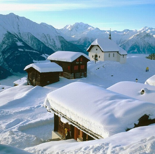 Stock Photo: 1597-7803 10644848, mountains, alpine, Alps, Bettmeralp, houses, homes, chapel, snow, Switzerland, Europe, Valais, winter,