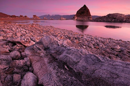 Pyramid, Pyramid Lake, sunset, Pyramid Lake Indian Reservation, Nevada, USA, North America, travel, America, travel, rock, formation, reflection, landscape : Stock Photo