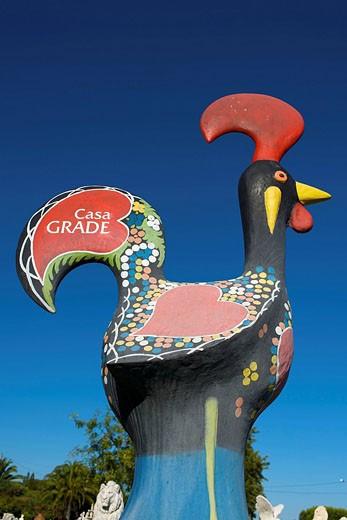 Stock Photo: 1597-79159 Algarve, Portugal, Skulptur, Hahn, Skulptur, Symbol, Werbung, Casa Grade, Symbol,