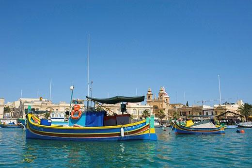 Stock Photo: 1597-79295 Fischerboote in Marsaxlokk, Malta