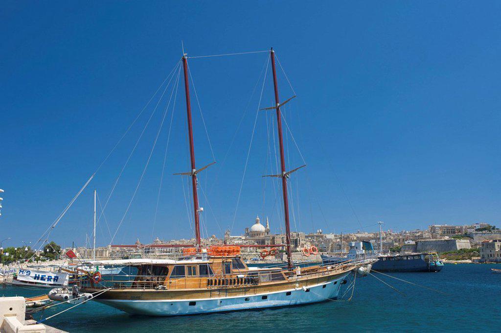 Stock Photo: 1597-79354 Blick von Sliema nach Valletta, Malta