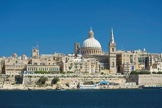 Stock Photo: 1597-79360 Blick von Sliema nach Valletta, Malta