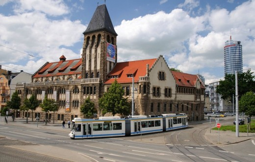 Architecture, destination, field recording, FRG, road, railway, building, federal republic, Germany, Europe, building, construction, Jena, Jentower, close traffic, passenger traffic, place of interest, streetcar, day, daylight, Thuringia, tourist attracti : Stock Photo