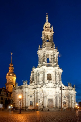 Architecture, outside view, field recording, FRG, baroque, construction, architectural style, building, lighting, investigation, federal republic, Christianity, Germany, cathedral, dome, Trinity church, Dresden, Europe, building, construction, faith, bell : Stock Photo