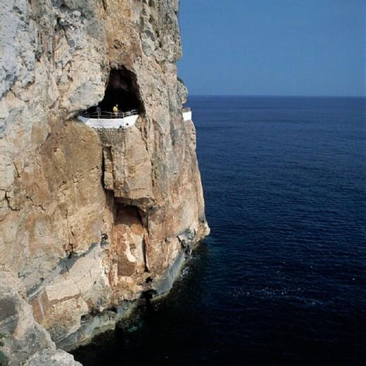 Balearic Islands, Cala En Porter, Cova d´en Xoroi, rock, cliff, cliff coast, grotto, cave, coast, sea, Menorca, Spai : Stock Photo