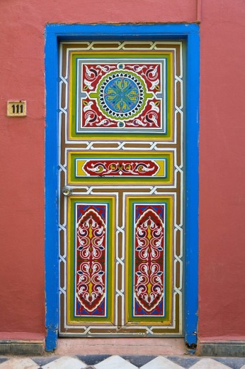 Stock Photo: 1597-80057 Traditionally painted door at the hotel Palais Salam, Taroudant, Morocco