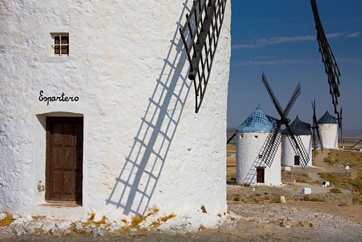 Spain, La Mancha, Consuegra, windmills, scenery, holidays, travel, : Stock Photo