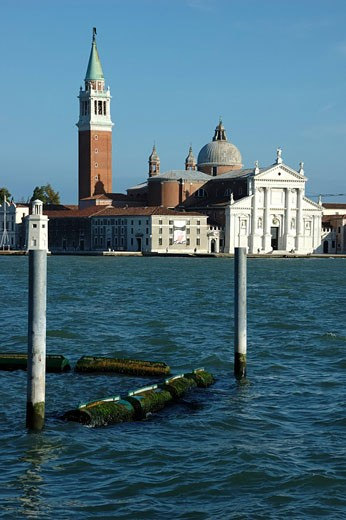 the church of saint george the great on the island of the same name in the venice lagoon opposite saints marks square : Stock Photo