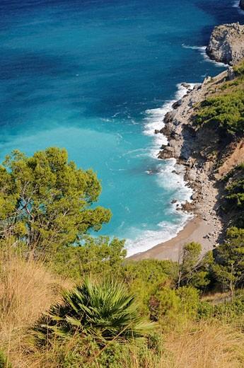 Blick auf die Platja des Coll Baix auf der Halbinsel von Alcudia, Mallorca, Spanien, Europa : Stock Photo