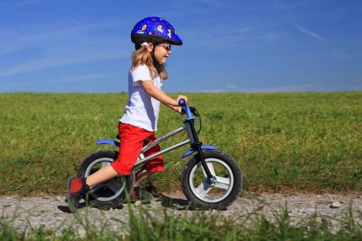 Stock Photo: 1597-82101 3, 3_year_old, activity, movement, bicycle, bike, bicycle, bike, go, joy, speed, swiftness, sky, heaven, child, run, traversing wheel, traversing wheel go, girls, nature, wheel, bicycle, fun, joke, sport, tempo, speed, bicycle, pleasure, actively, outdoor