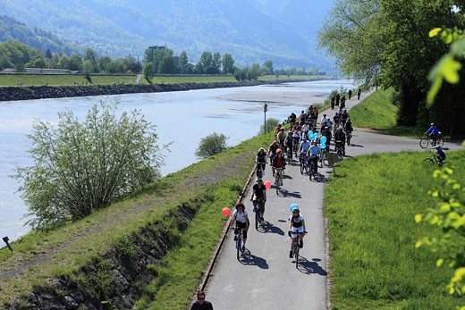 Stock Photo: 1597-82296 Slow Up Werdenberg_Liechtenstein, Velo, Inline Skating