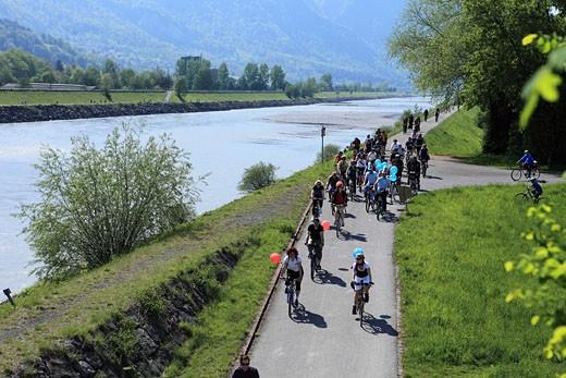 Slow Up Werdenberg_Liechtenstein, Velo, Inline Skating : Stock Photo
