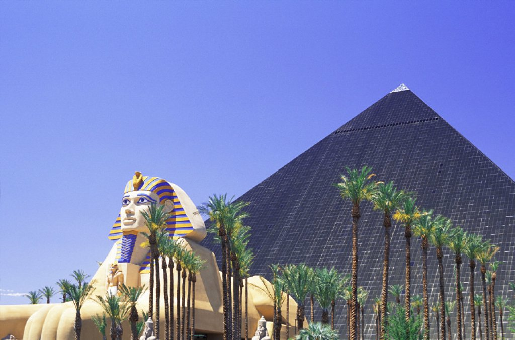 Stock Photo: 1597-8317  outside, casino, casino, Las Vegas, Luxor hotel, Nevada, palms, pyramid, sphinx, USA, America, North America,