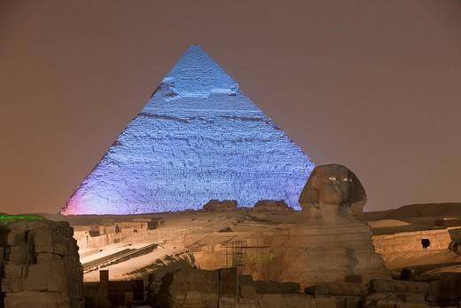 Stock Photo: 1597-83438 Licht und Ton Show an den Pyramiden von Gizeh, Kairo, Aegypten, Light and Sound Show at Pyramids of Giza, Cairo, Egypt