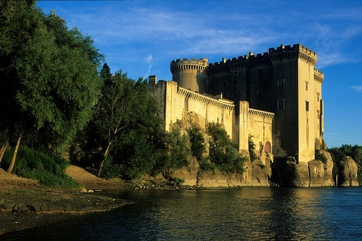 Tarascon, France, Provence, Bouches_du_Rhône, castle, river, flow, Rhône : Stock Photo