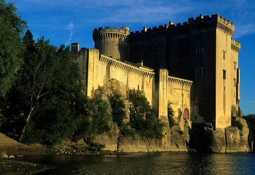 Tarascon, France, Provence, Bouches_du_Rhône, castle, river, flow, Rhône : Stock Photo