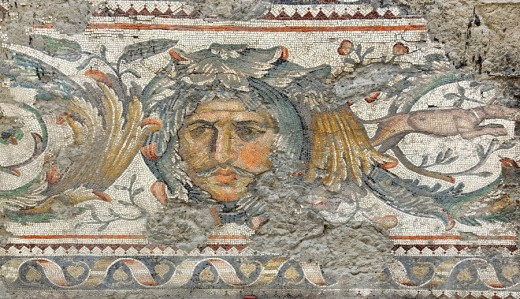Stock Photo: 1597-84989 ancient roman mosaic of a mans face with moustache with sad searching expression from the remains of the Great Palace in constantinople