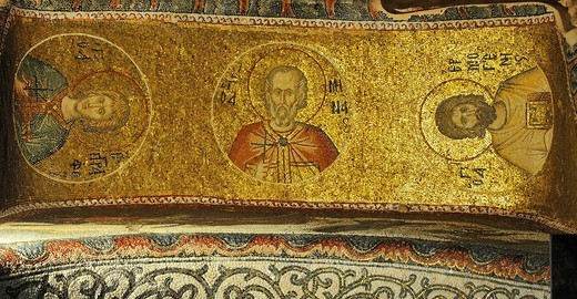 ancient byzantine mosaics from the ceiling of Saint Chora : Stock Photo