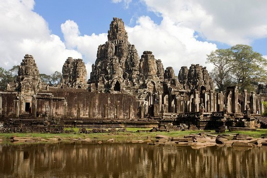 Cambodia, Far East, Asia, world cultural heritage, temple, religion, cultural site, culture, stone figures, waters, temple arrangement, Siem Reap, traveling, place of interest, landmark : Stock Photo