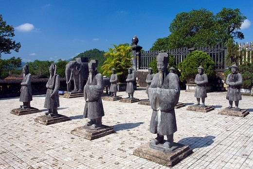 Vietnam, Asia, Far East, Khai Dinh, Gee up, mausoleum, stone figures, figures, art, skill, culture, world cultural heritage, traveling, place of interest, landmark : Stock Photo