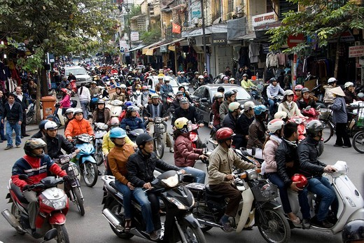 Stock Photo: 1597-85676 Vietnam, Asia, Far East, Hanoi, town, city, street, traffic, motorcycles, motorbikes, waste gases, environmental pollution, people, people, travel, place of interest, landmark