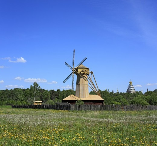 Stock Photo: 1597-85955 Wooden windmill, New Jerusalem monastery, Istra, Moscow region, Russia